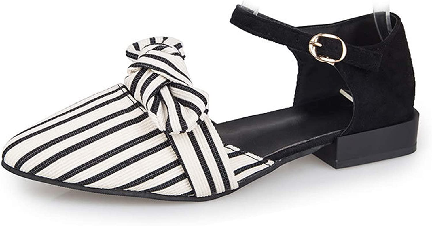 Sensitives 2019 Fashion Women Sandals Flat Pointed Toe Striped Bow Spring Summer Casual shoes