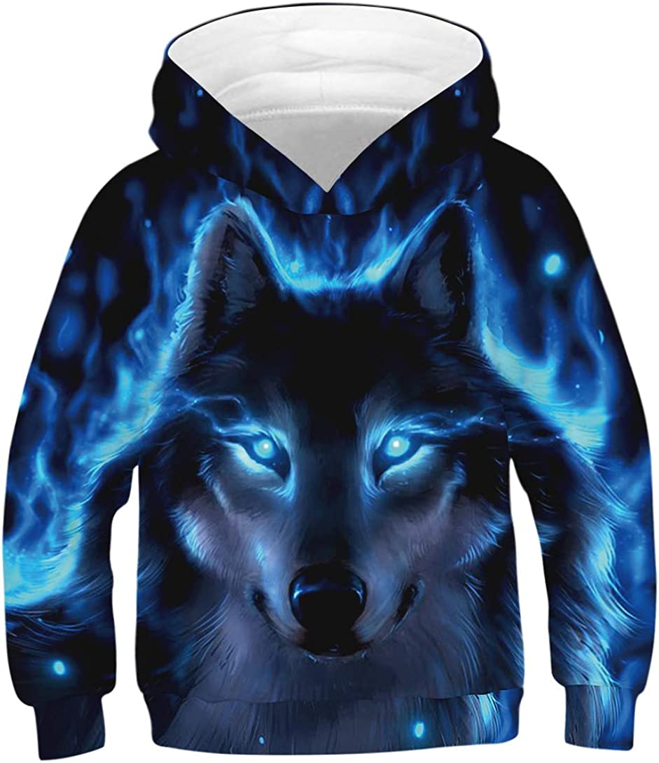 Ainuno Kids Boys Girls Hoodie Pullover 4-15Y Galaxy Wolf Sweatsh