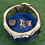 PETMAKER 80-PET6081 Pop-Up Pet Playpen with Carrying Case, Blue, 26.5x17