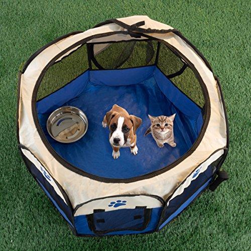 PETMAKER 80-PET6081 Pop-Up Pet Playpen with Carrying Case, Blue, 26.5x17