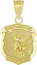 Saint Michael the Archangel Protect Us Shield Medal Necklace Pendant