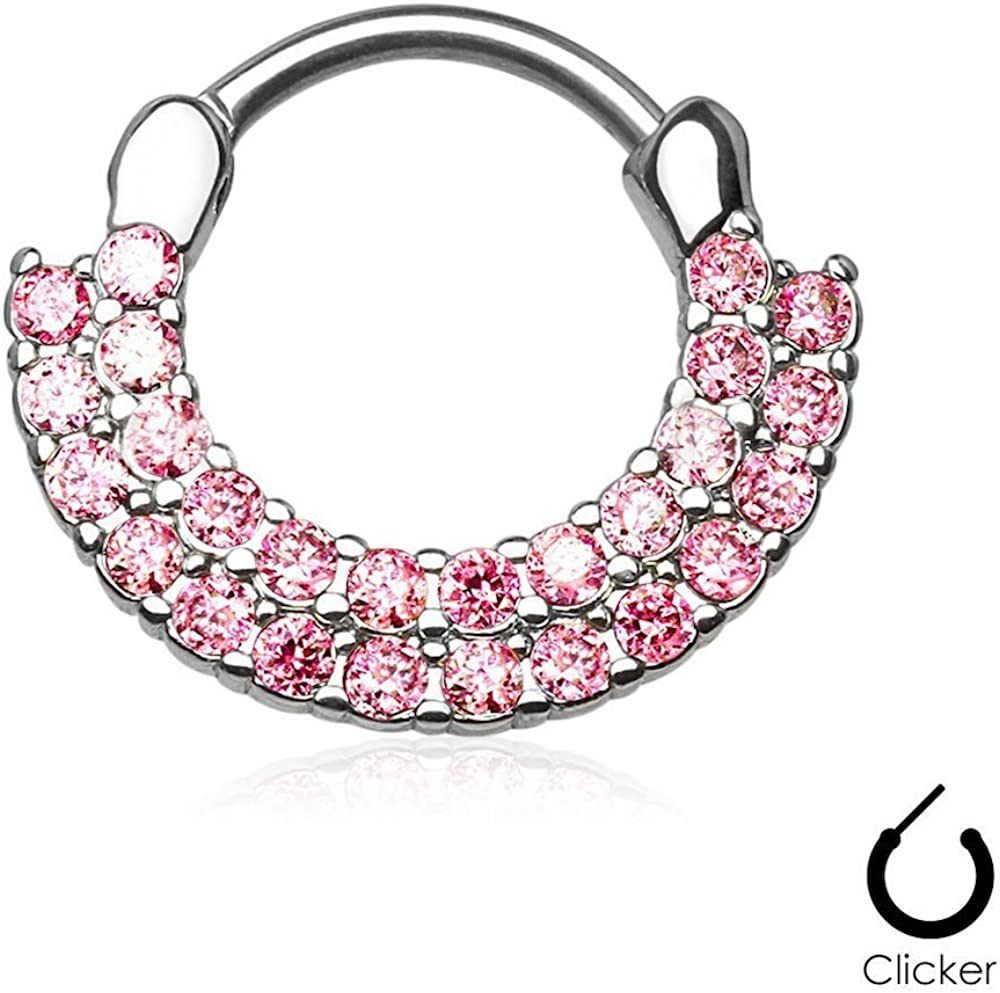 Covet Jewelry Double Lined CZ Set Fan Round Top 316L Surgical Steel Nose Septum/Ear Cartilage Clicker Rings