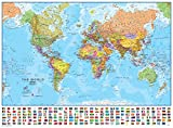Round World Products World With Flags Laminated Map