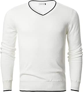 Chain Stitch Men's Thick Fleece-Lined Crew Neck Pullover V-Neck Sweater