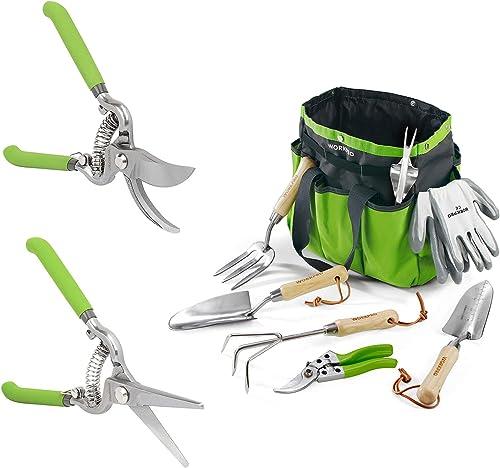 WORKPRO 2-Piece Pruning Shears Set+Garden Tools 7 Piece Set