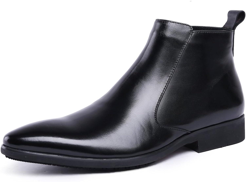 Medzre Mans Claasic svart läder Formal Klädd Oxford Ankle Stövlar Stövlar Stövlar  detaljhandel