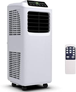 COSTWAY 8000 BTU Portable Air Conditioner with Remote Control, Energy Efficient for Rooms Up to 400 Sq. Ft, Cooling, Dehumidifying, Fanning, Sleeping Mode, Time Settings