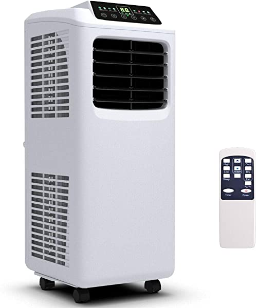 COSTWAY 8000 BTU Portable Air Conditioner With Remote Control Energy Efficient For Rooms Up To 400 Sq Ft Cooling Dehumidifying Fanning Sleeping Mode Time Settings