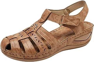 Women Summer Wedges Sandals, Ladies Fashion Buckle Hallow Out Sandals Beach Shoes