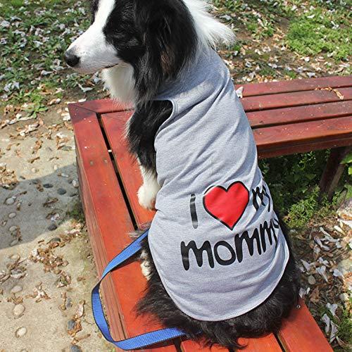 ZYQXI Hundekleidung Pet Big Dog Weste Sommer Baumwolle Große Hundekleidung Shirt Ich Liebe Meine Mutter T-Shirt für Hunde Kleidung Pink Casual Pet Apparel Hundemantel Zubehör