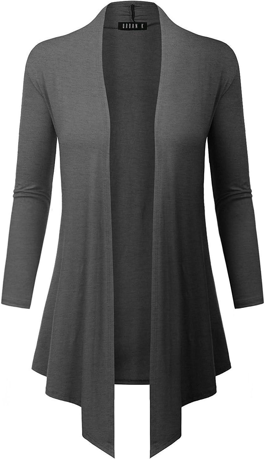 URBAN K Women's Short, Long, & 3/4 Sleeve Open Front Drape Hem Lightweight Cardigan Regular & Plus Size