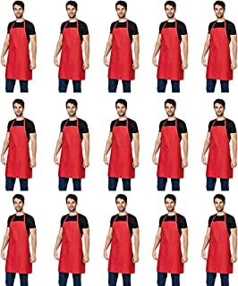 TSD STORY Total 15 PCS Plain Red Bib Apron for Women Men Adult with 2 Front Pockets-Big Size 28x32 Aprons for Cooking Kitchen Baking BBQ(True Red-15pcs- Size 7080CM)
