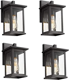Bestshared Outdoor Wall Scone, Outdoor Wall Mounted Light Indoor Single Light Exterior Wall Lantern with Clear Glass (Black, 4 Pack)
