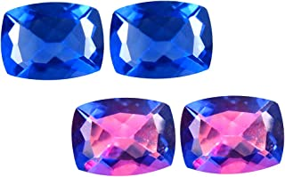 Deluxe Gems 3.47 ct (2pcs) Matching Pair 8 mm Cushion Cut Color Change from Blue to Purplish Red Un-Heated Fluorite Natural Gemstone