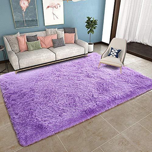 Teppich Muster 200x200cm, Wohnzimmer Carpet Anti Rutsch Waschbar Teppich flachgewebe fürWohnzimmerSchlafzimmeroderKinderzimmer Lila