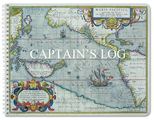 "BookFactory Captain's Log Book/Boat Log Book/Ship's Log Book/Nautical Log Book - 100 Pages, Full Color Cover with Translux Protection, 11"" x 8 1/2"", Wire-O Binding (LOG-100-CPT-011)"