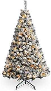 HOMAKER Pre-Lit 7FT Flocked Christmas Tree, 300 UL Certificated Clear Lights, Artifical Xmas Tree with Metal Stand