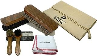 Valentino Garemi Shoe Care Brush Set - 2 Polishing Brushes, Cloth, 2 Applicators Brush - Genuine Horse Hair - Footwear Shine, Polish, Buff and Clean - Made in Germany