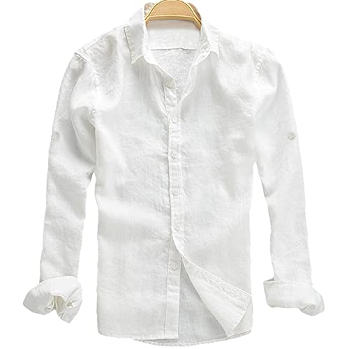 1abae5f4bdae2 Youhan Men s Long Sleeve Fitted Linen Shirt