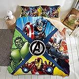 Juego de ropa de cama de Los Vengadores, 100 % microfibra, impresión digital 3D, para adultos y niños, diseño de cómic de Marvel (Avengers-4, 135 x 200 cm + 80 x 80 cm x 2)