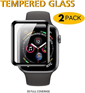 JRCT (2 Pack) Premium Tempered Glass Apple Watch Screen Protector Series 5/4 40mm, 44mm | Full Coverage | HD Clarity | Shatter-Proof | Scratch Resistant | Bubble Free | Easy Installation (40mm)