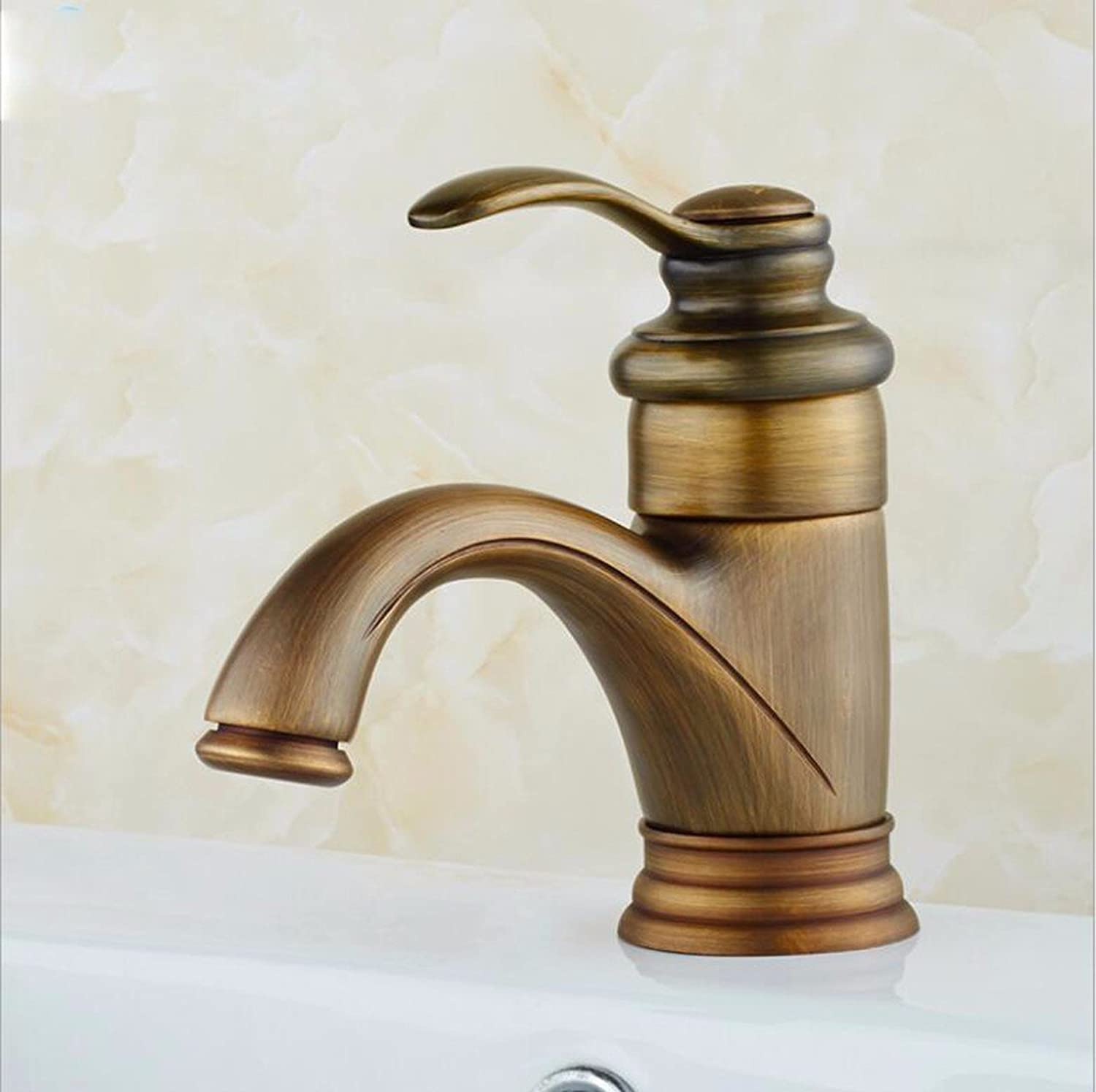 SHLONG European Style Copper Antique Basin Faucet Bathroom Sink Faucet Simple hot and Cold Water Mixer