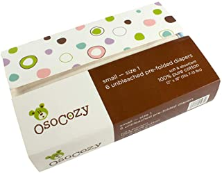 OsoCozy Prefolds Unbleached Cloth Diapers, Size 1(7-15lbs), 6ct