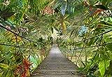 Komar WTD - Carta da parati fotografica WILD Bridge, motivo foresta pluviale, giungla, tropicale, arcobaleno, ponte, 3D 8-977, verde, 368 x 254 cm