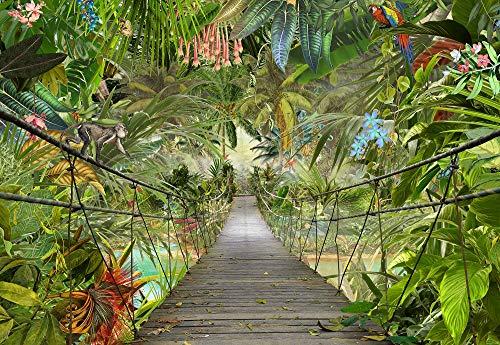 Komar Fototapete WILD Bridge Tapete, Wanddekoration, Regenwald, Dschungel, Tropic, Rainforest, Brücke, 3D-8-977, Grün, 368 x 254 cm, 8 Teile