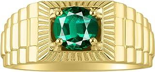 RYLOS 14K Yellow Gold Gorgeous 7MM Round Shape Gemstone Ring Color Stone Set - Designer Style Birthstone Rings