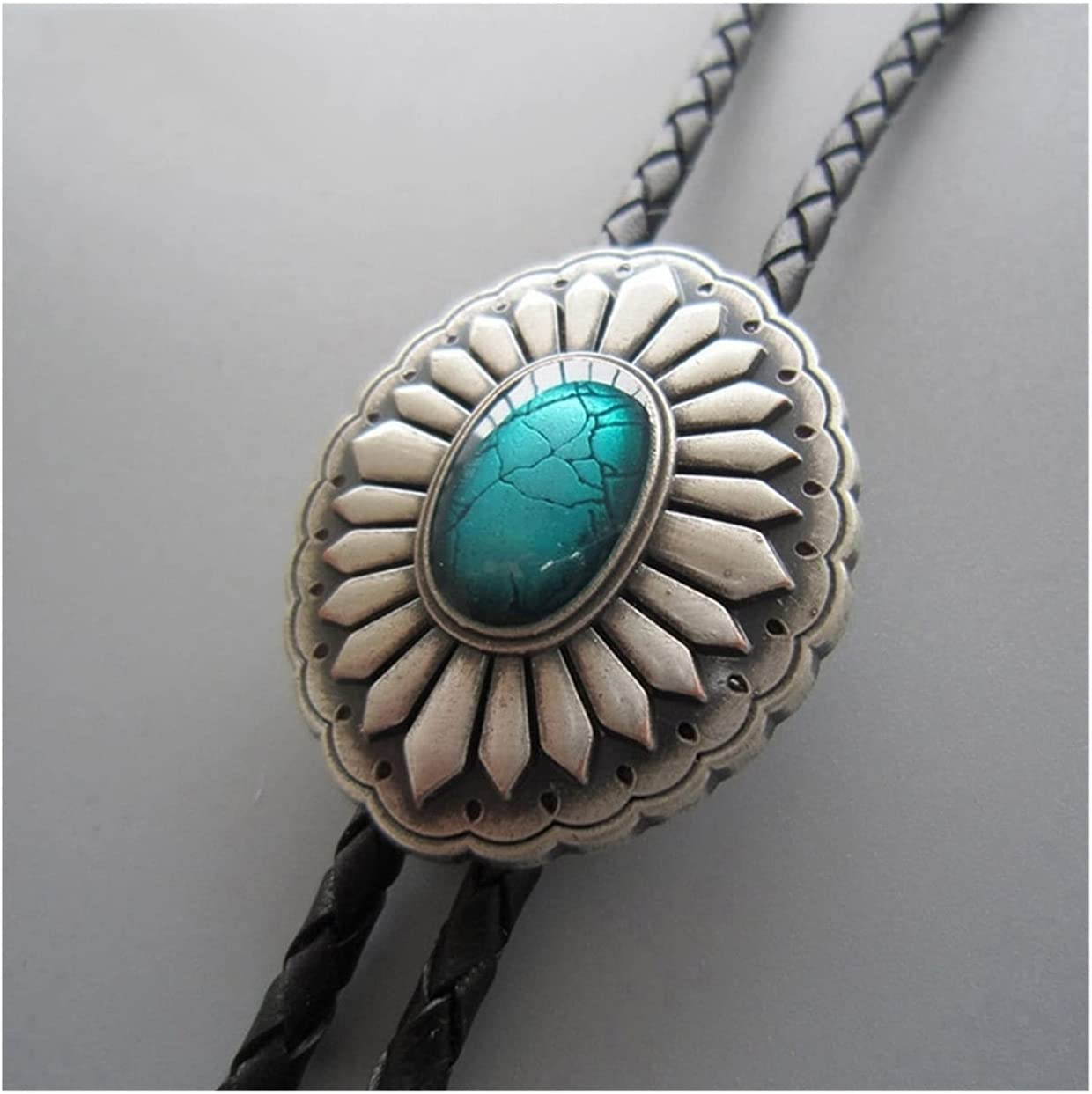gujiu Western Denim bolo tie Natural Turquoise Stone Bolo Tie Native American Western Cowboy Handmade Leather Neutral British Style, Suitable for Men and Women