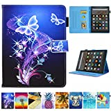 Folio Case for Kindle fire HD 10, JZCreater Slim Leather Standing Case Cover with Auto Wake/Sleep for All-New Kindle Fire HD 10.1' Tablet (7th Generation, 2017 Release), Purple Butterfly