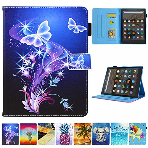 Folio Case for Kindle fire HD 10, JZCreater Slim Leather Standing Case Cover with Auto Wake/Sleep for All-New Kindle Fire HD 10.1
