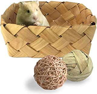 Hamster Woven Bed Wicker Ball Chew Toys Natural Nest Box for Rats Guinea Pigs Chinchillas Mice Ferrets Squirrels and Gerbils