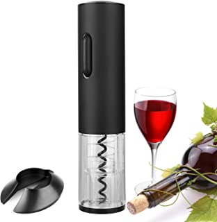 GOSCIEN Electric Wine Bottle Opener, Cordless Rechargeable Wine Opener, Automatic Corkscrew with USB Charging and Foil Cutter (Base), LED Indicator Light-Stainless Steel (Black)