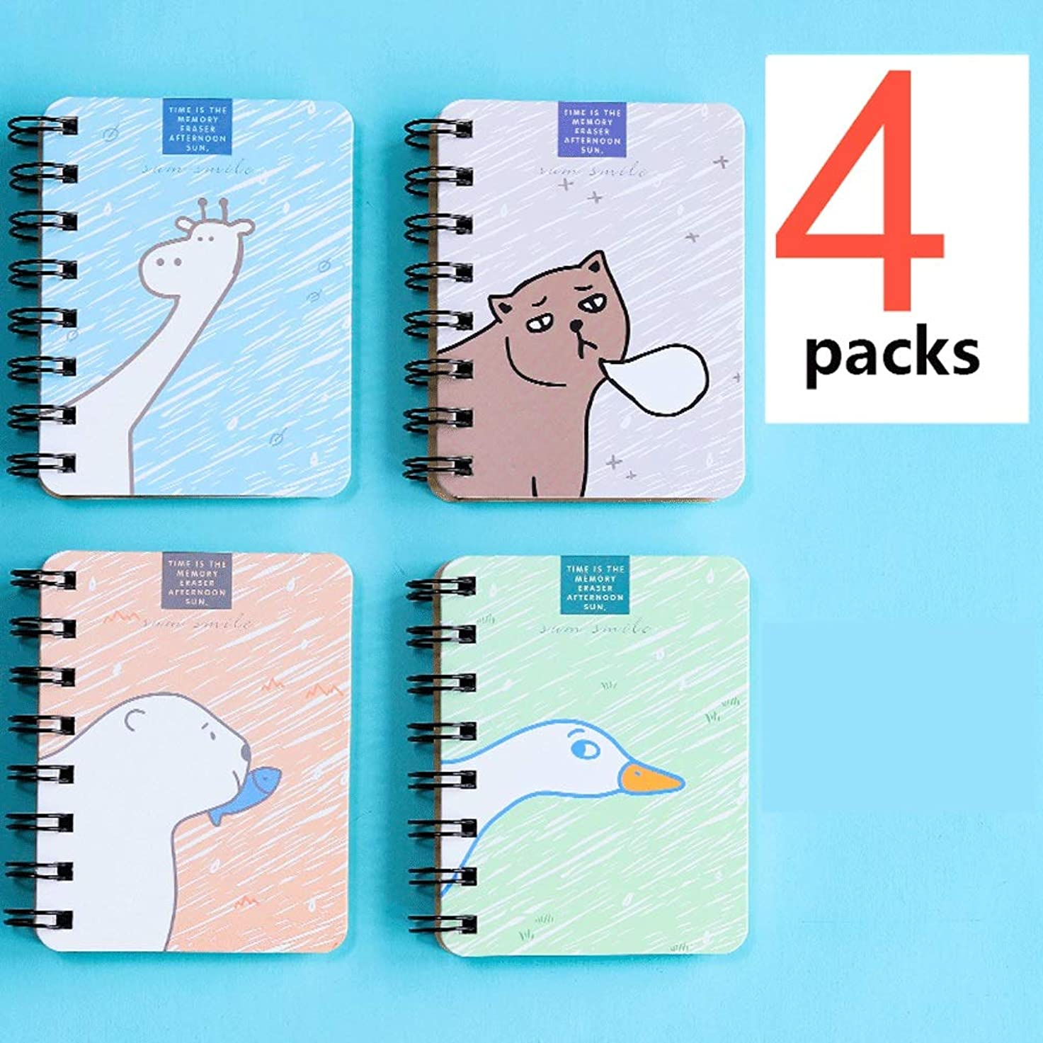 4パックの小さなメモ帳ポータブルノートブックコイルポケットレコードブック Miyabitors (Color : F)