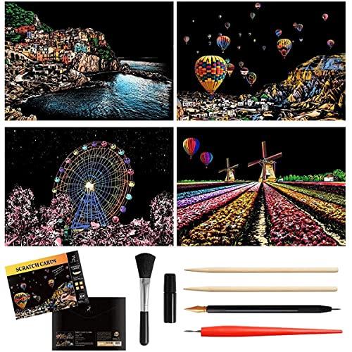 Kratzbilder Set für Kinder, City Series Night Kratzpapier Scratch Painting Kreatives Geschenk DIY Malerei Papier mit 5 Werkzeugen für Erwachsene und Kinder(290 x 210 MM)
