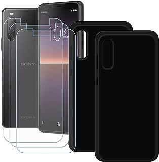 YZKJ [2 stycken skal för Sony Xperia 1 II Cover svart mjuk silikon skyddande skal TPU skal fodral 3 x pansarglas skärmskyd...