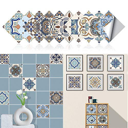20x20cm Adhesivo para Azulejos de PVC Impermeable, Pegatinas de Baldosas Autoadhesivo, Vinilos para azulejos para cocina y baño(Pavo)