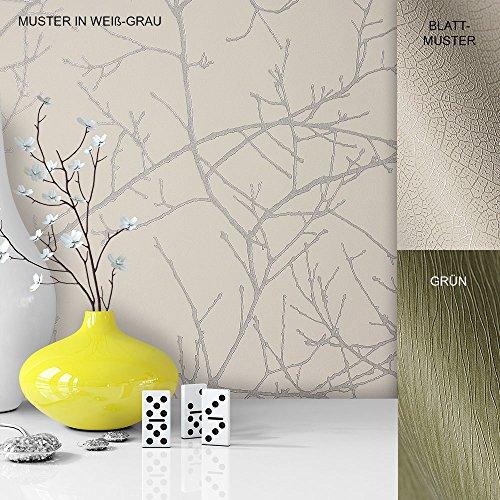 Vliestapete Vinyl Tapete mit Baummuster Weiß Grau in edelster Ausführung, außergewöhnliches Tapeten Muster in moderner Landhaus Natur Optik für Design Liebhaber, inkl. Tapezier Ratgeber von Newroom