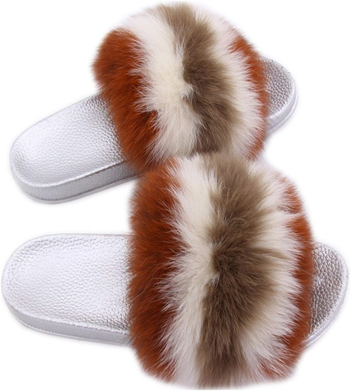 QMFUR Women Real Fox Fur Slippers Lady Fashion Multicolor Fur Black Glod Silver Sole Slipper True Fox Fur (9, Silver-C)