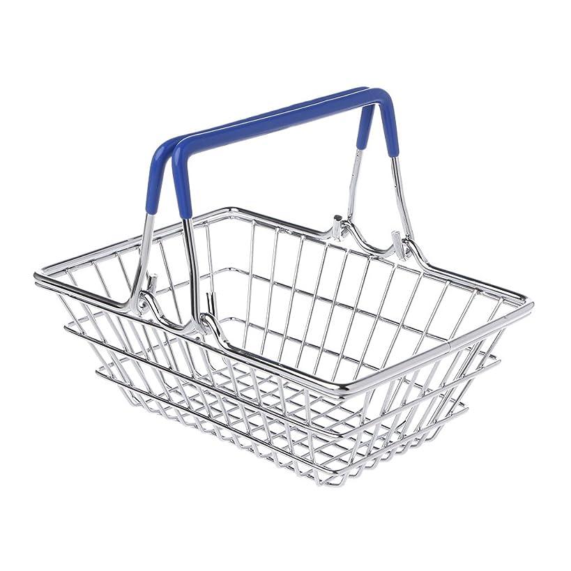 Kofun Trolley Toy, Mini Supermarket Shopping Hand Basket Kids Toy Pretend Play Home Decor Ideal Christmas Birthday Pretend Play Toy Gift for Kids Blue