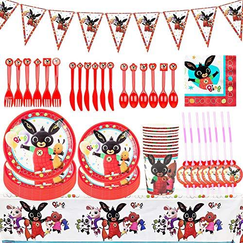 Stoviglie per Feste, BESTZY 92 Pezzi Decorazioni per Feste a Tema Bing Bunn Forniture per Feste di Compleanno Set