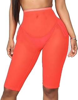 57e80836c1 Women See Through Sheer Mesh Pants Beach Swimsuit Bikini Bottom Cover up  Party Club Elastic High