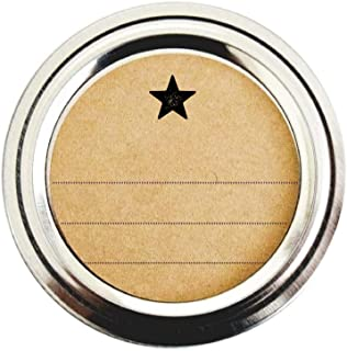 Rustic Round Labels for Canning Jars, Simple Star Design with Blank Lines, by Once Upon Supplies, 2 Inches, 40 Labels