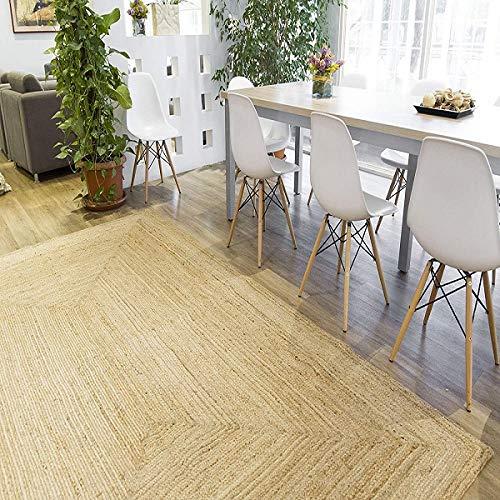 Rugsite Grand tapis rectangulaire 100 % jute 150 x 215 cm Poils naturels tressés abat-jour terreux pour cuisines, vérandas.