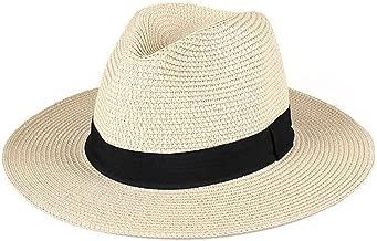 Goquik Sombrero para el Sol, Sombrero de Playa para Vacaciones de Verano para Hombres, Plegable, Aleros Anchos, Sombrero de Panamá (Color : Beige)