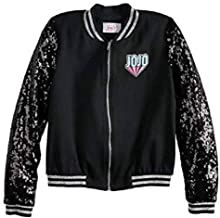 by Jojo Siwa Jacket for Girls Lightweight Sequin Black Athletic Bomber Coat