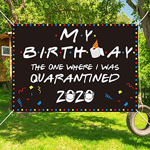 Allenjoy My Birthday Theme Backdrop for Kids Party Decorations Supplies Indoor The One Where I was Quarantined Banner Outdoor Lawn Yard Sign Flag 84.6x59 Inch Bday Hanging Wall Decors Durable Fabric