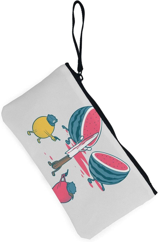 AORRUAM Watermelon and police Canvas Coin Purse,Canvas Zipper Pencil Cases,Canvas Change Purse Pouch Mini Wallet Coin Bag